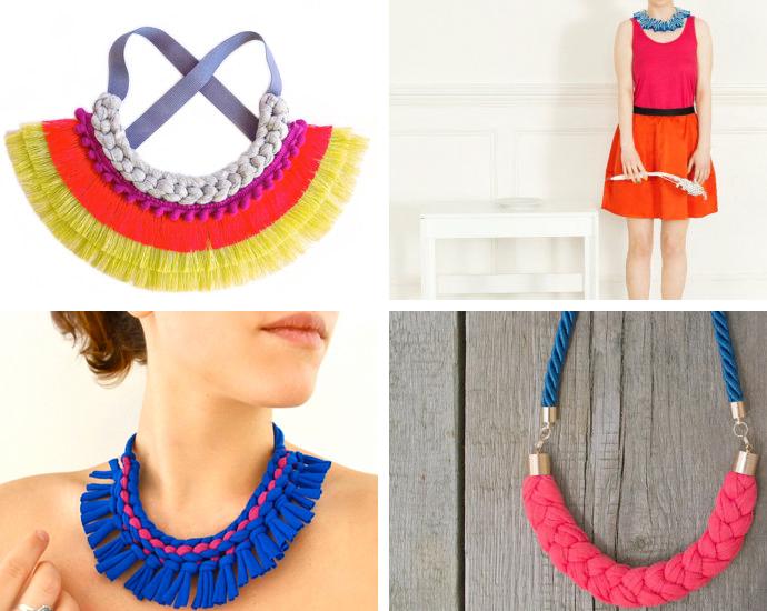 Fringe statement necklace  by  SusanaEspiauba //  Felt boho bib necklace  by  FELTandGEM //  Tribal statement necklace by  Pamplepluie //  Color block statement necklace  by  Zojanka