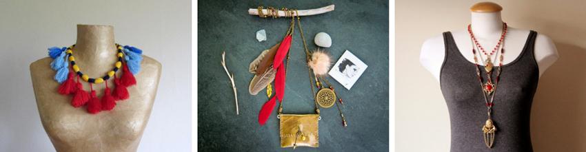 Tribal tassel necklace  by  Paczula //  Boho statement necklace  by  BagsJewelsAnthracite //  Layered statement necklace  by  jarka