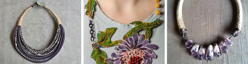 Silk statement necklace  by  aBimBeri //  Beaded statement necklace  by  EmilyAlexandraDesign //  Deer antler statement necklace  by  daniellerosebean