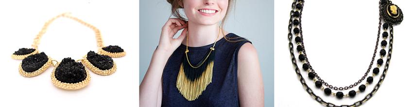 Chunky bib necklace  by  TheFashionBandits //  Black & gold fringe necklace by  ReasonToBePretty //  Vintage cameo statement necklace  by  keatleydesigns