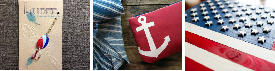 Recycled fishing lure by RecyclingRedefined  // Anchor wallet by HummingbirdFactory // American flag wood art by PatriotWood