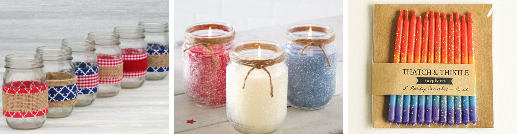 Red, white, and blue ribbon jars  by  BlueDogwoodBoutique  /  4th of July glitter jars  by  CraftySiblings2  //  Red, white & blue glitter candles  by  thatchandthistleco