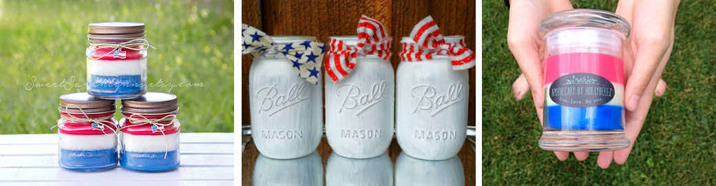 Red, white and blue candles  by  SweetSarahlynns  //  4th of July mason jar centerpieces  by  Createdwithlovedecor  //  Patriotic candle  by  HollyBeeez