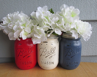 Mason jar centerpieces  by   Theretroredhead2
