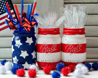 Stars & Stripes Mason Jar Flag  by  dropclothdesignco