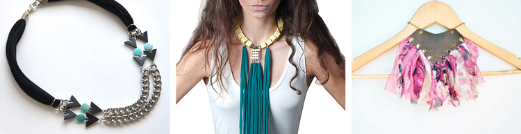 Aqua arrow statement necklace by  embeboutique // Fringe statement necklace by  TRASH4FLASH // Tribal statement necklace  by  spiritfiredesigns