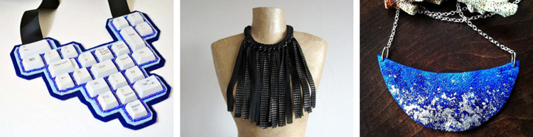 Upcycled statement necklace by  spiritfiredesigns // Fabric fringe statement necklace by  Paczula // Galaxy bib necklace by  NayaHandcrafted