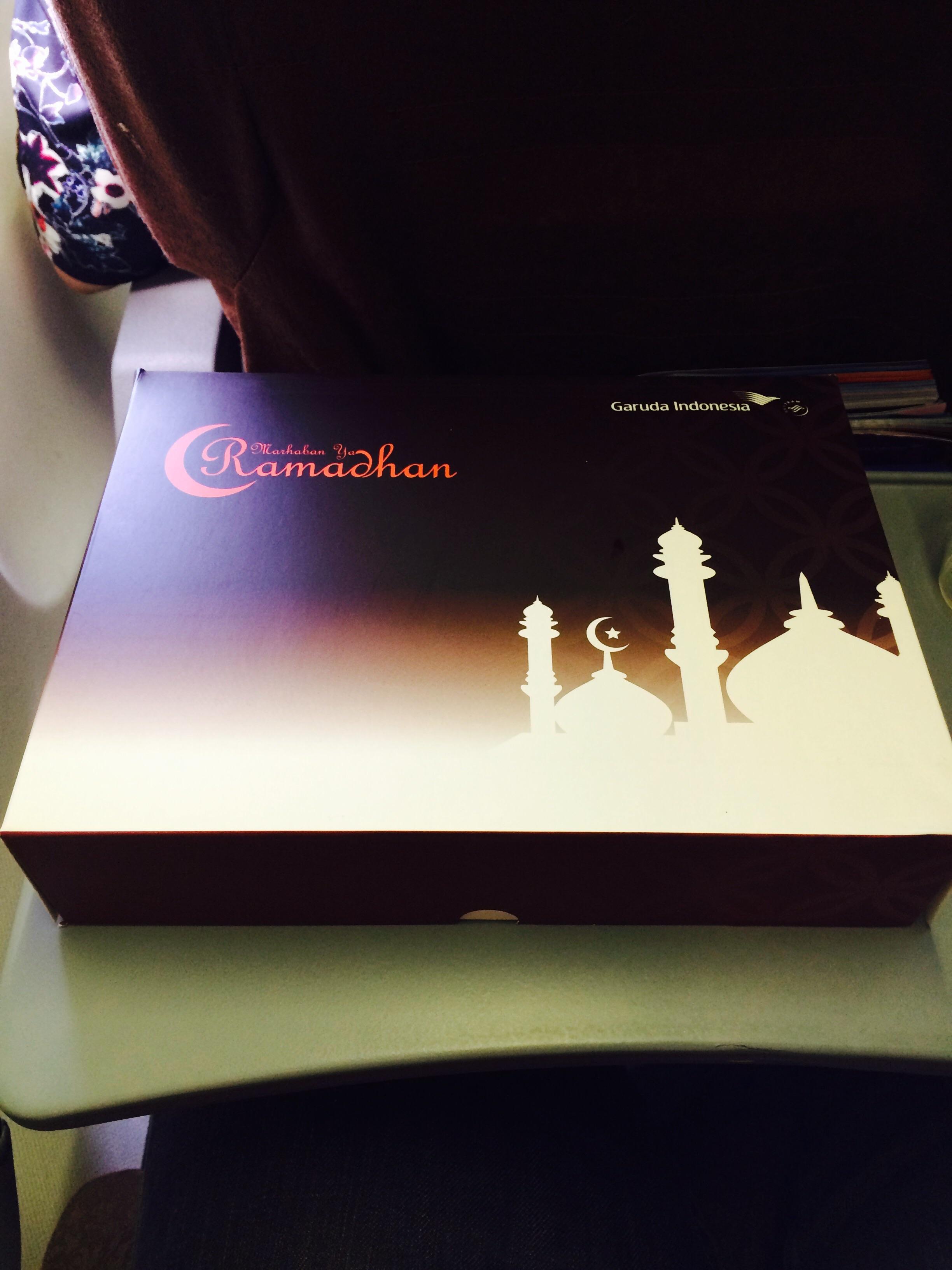 Breakfast on plane, Muslim Ramadan style.
