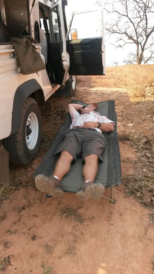 Brian's son Luke posted this photo on fb of Brian resting on his journey.