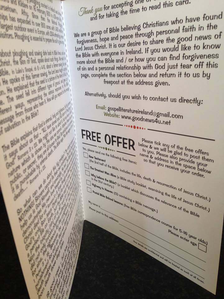 Inside cover of the A5 leaflet showing the free items available if people write in using the free-post address which is on the outside back cover.