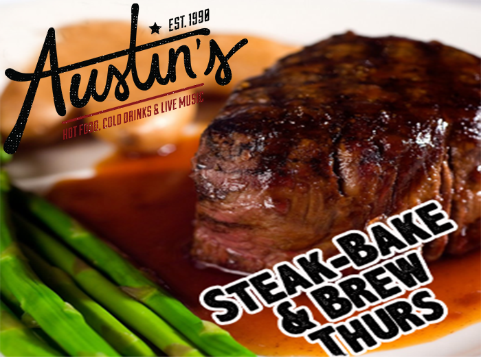 Thursday Night is steak, Bake & Brew Night   9oz Sirloin, Salt Crusted Baked Potato, Corn On The Cob, Texas Toast And A Cold Glass Of Bud.