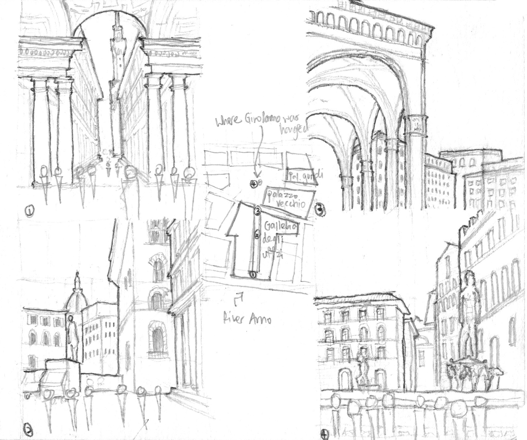Sketches of Florence, Italy