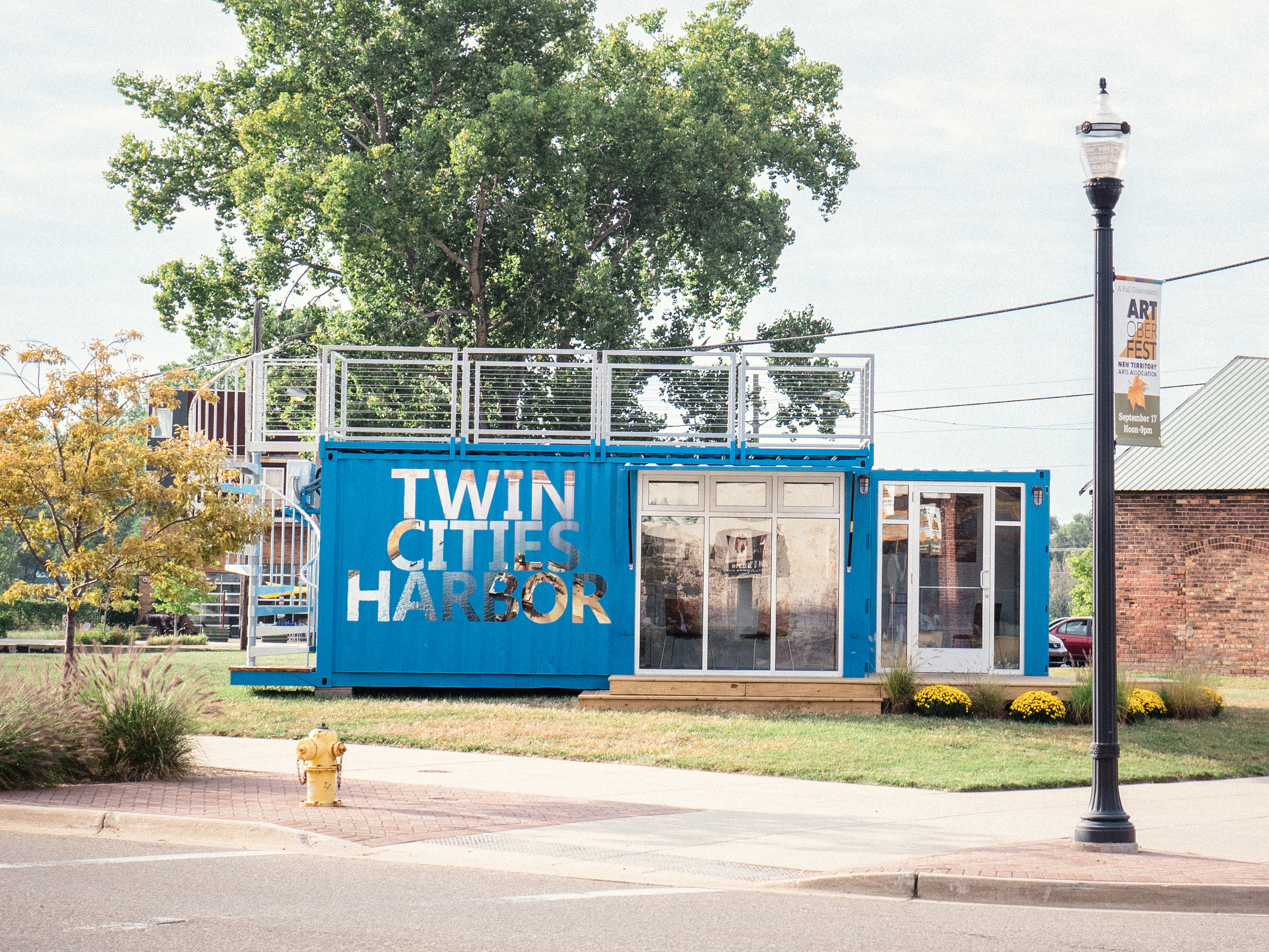 Shipping container retrofitted as community gallery space, Benton Harbor, Michigan