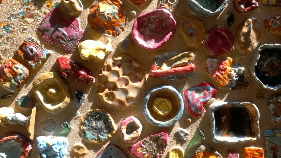 Ceramic pieces made by kids, bronze pieces by Lisa Blubaugh