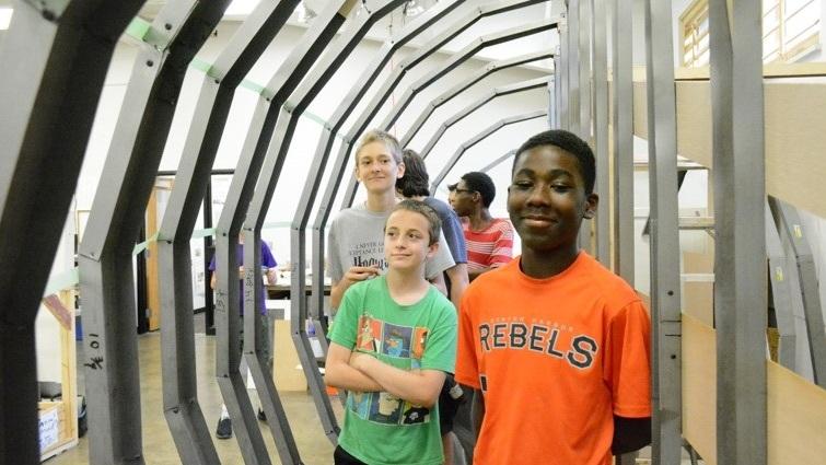 Kids inside their zeppelin