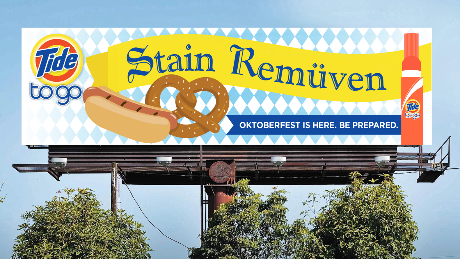 Option 2 for Octoberfest - highlighting common foods that may cause stains and tying in the Bavarian pattern.