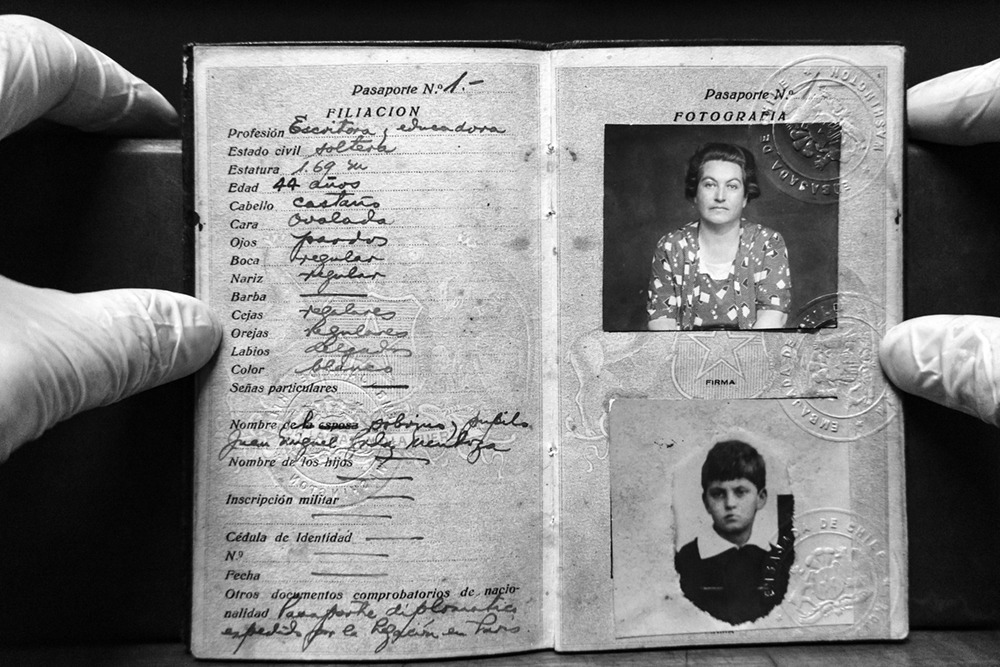 "The National History Archive preserves in its underground deposits the biggest accumulation of Chilean memory.The passport released by the Chilean Embassy in Paris to Gabriela Mistral and his young nephew ""Yin-yin"". Gabriela Mistral is the pen-name of Lucila Godoy Alcayaga, the teacher and poet laureate with the Nobel Prize of Literature in 1945."