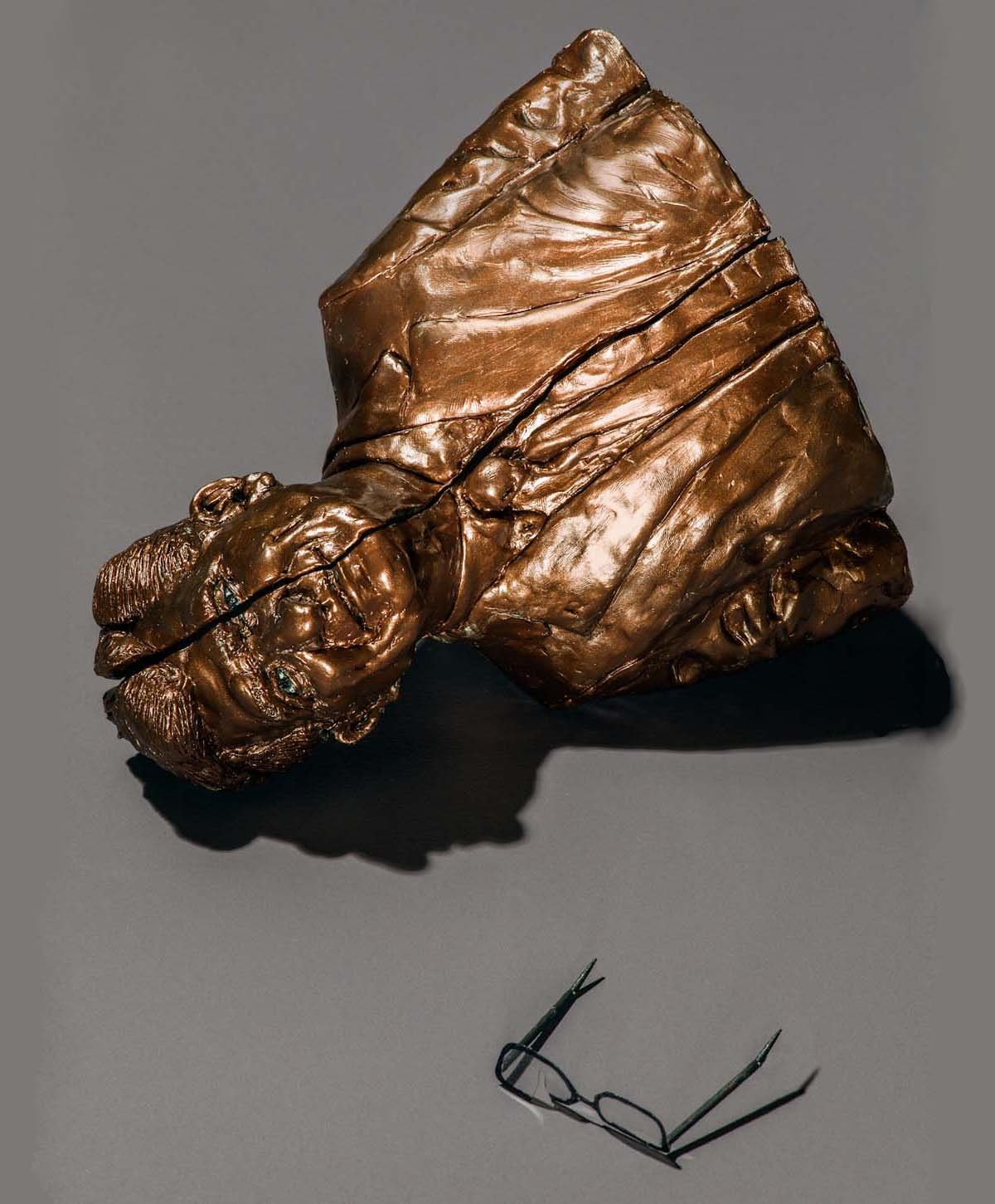 Joe Paterno, in gold and sliced ... fallen (photo by Grant Cornett for The New Yorker)
