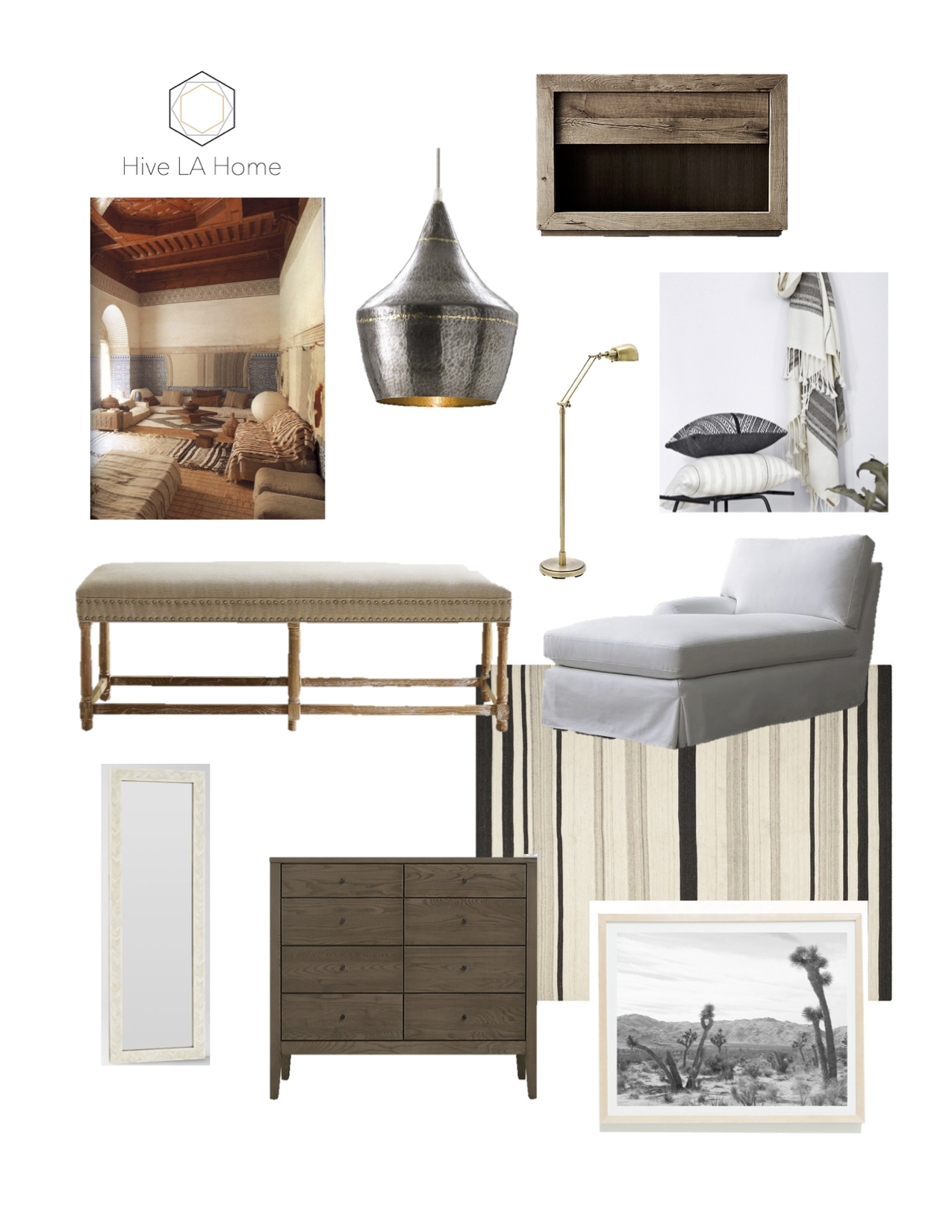 Mason 1 Light Sconce,   Arteriors Home  ; Reclaimed Russian Oak Open Nightstand,   Restoration Hardware  ; Assorted PIllows and Accessories,   The Citizenry  ; House of Troy Antique Brass Floor Lamp,   Lamps Plus  ; Cornelia Bench,  One Kings Lane ;Elyson Slipcovered Chaise Lounge,   Crate and Barrel  ; Bone Inlay Parsons Mirror,   West Elm  ; Hudson 6-Drawer Dresser,   Room and Board  ; Handwoven Moroccan Dhurrie, Safavieh,   overstock.com  ; Black and White Print,  Joshua Trees #4, WilderCalifornia,   etsy.com  . Image credit:  bighardsun.tublr.com