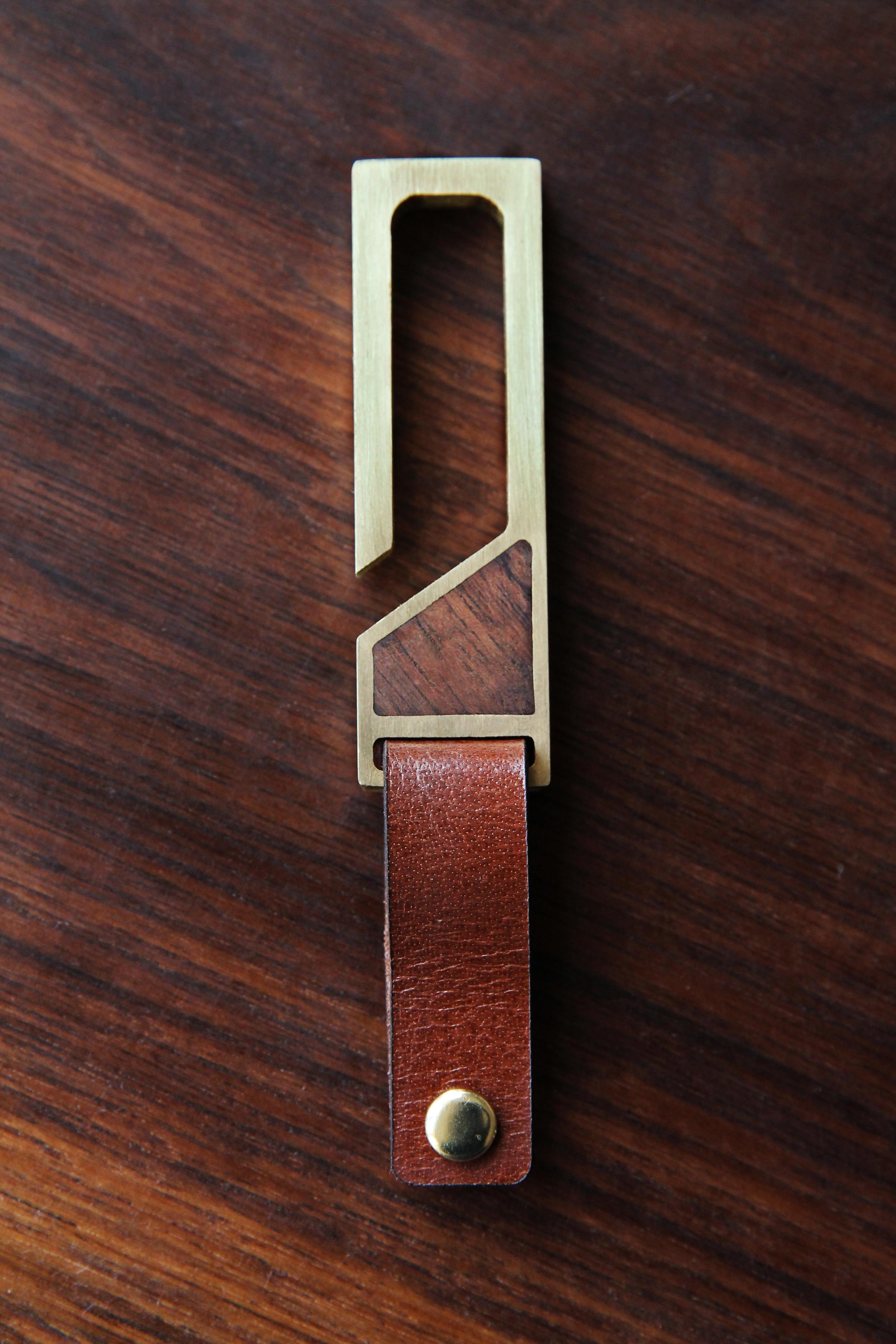 Brass & Walnut Key Hook