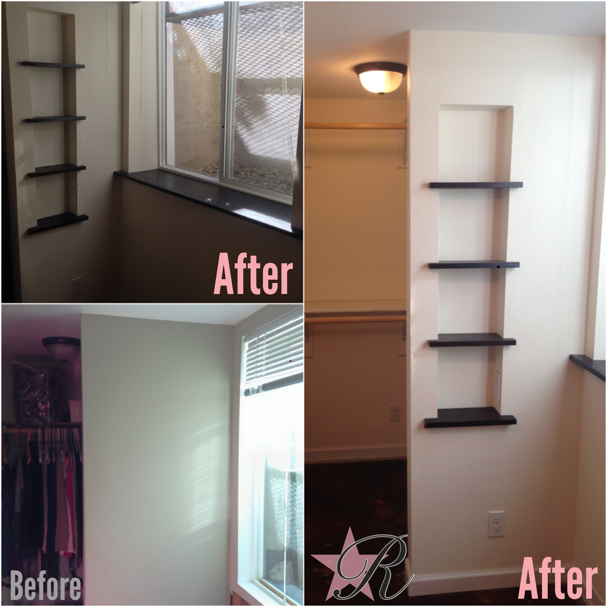 After the waterproofing contractors took care of the leak, Rockstar Remodel rebuilt this basement bedroom with a new closet design, window sill and built-in shelves.