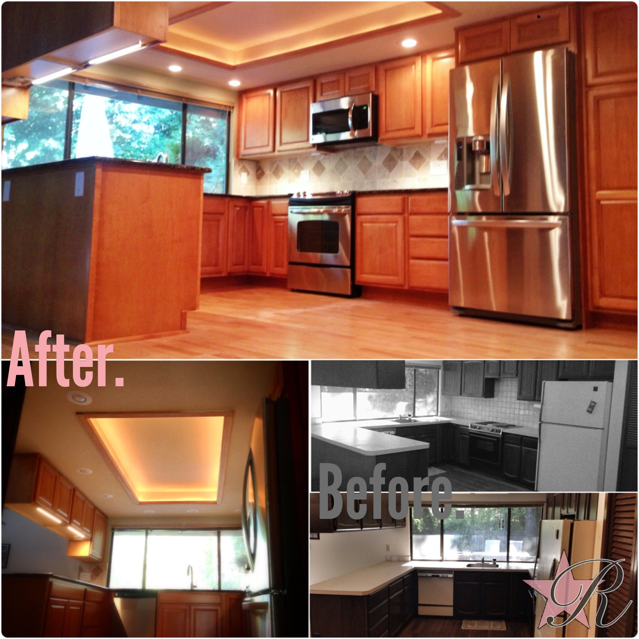 This kitchen was revitalized with new cabinets, tile, and flooring. When the fluorescent lights were removed, Rockstar Remodel was able to rebuild a raised section of the ceiling with accent lighting to add some light in addition to the new recessed lights.
