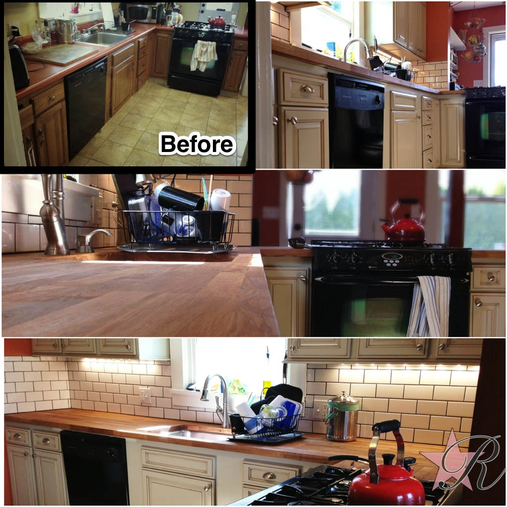 Rockstar Remodel replaced the old countertop with butcherblock, installed a subway tile backsplash and painted.