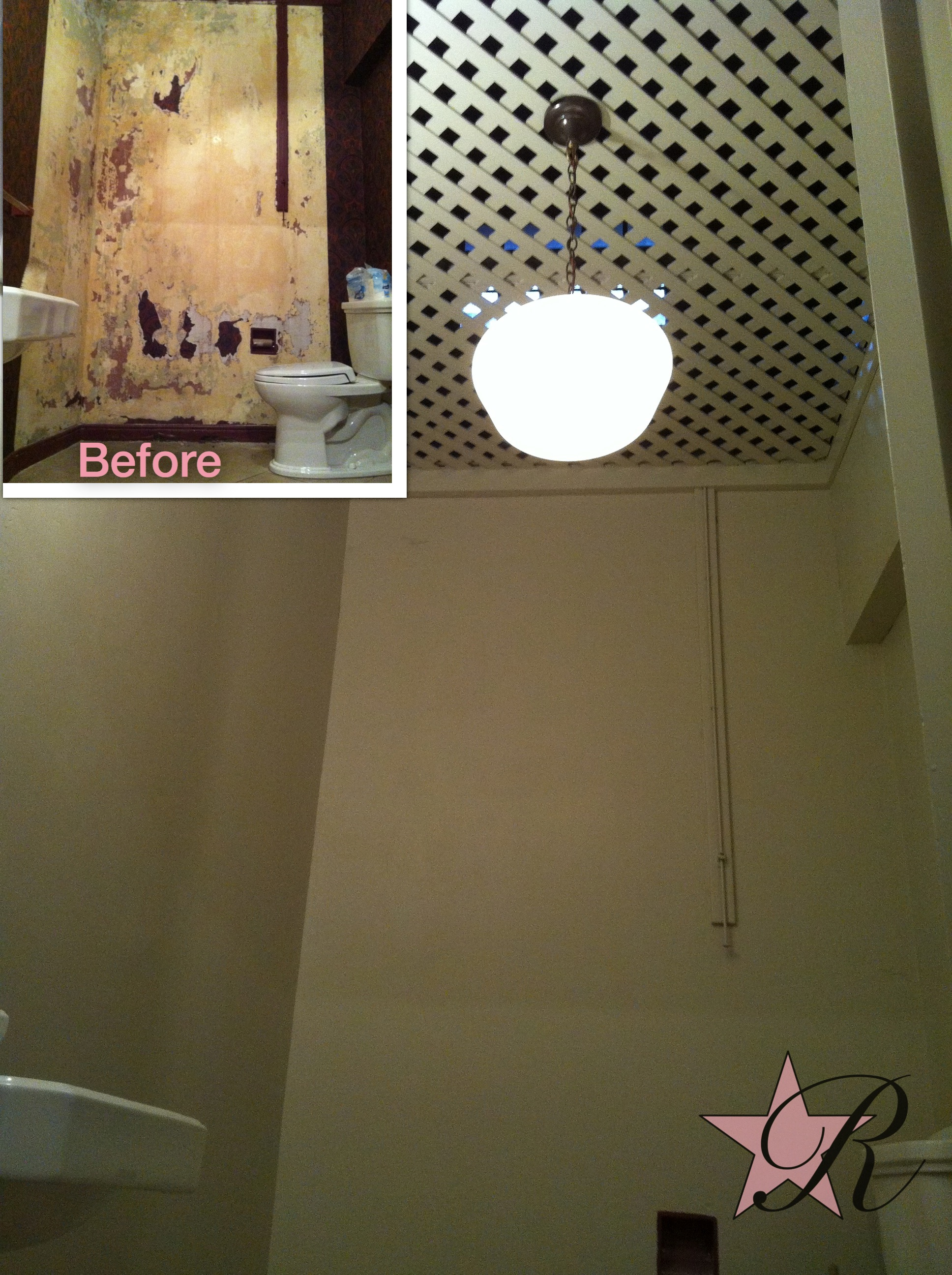 The basement bathroom wallpaper was removed and the walls and lattice ceiling painted.