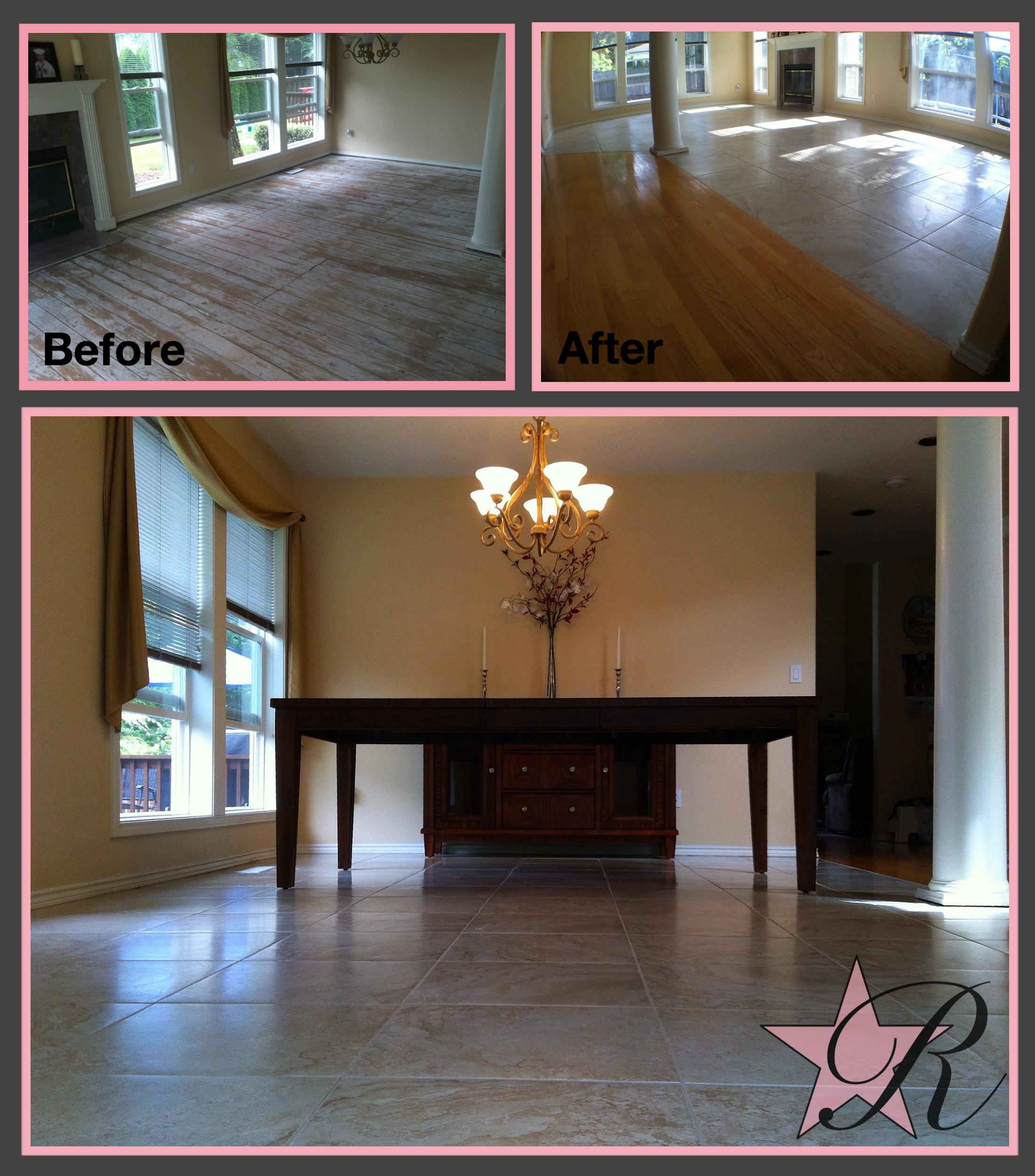 Rockstar Remodel installed a tile floor in this living room.