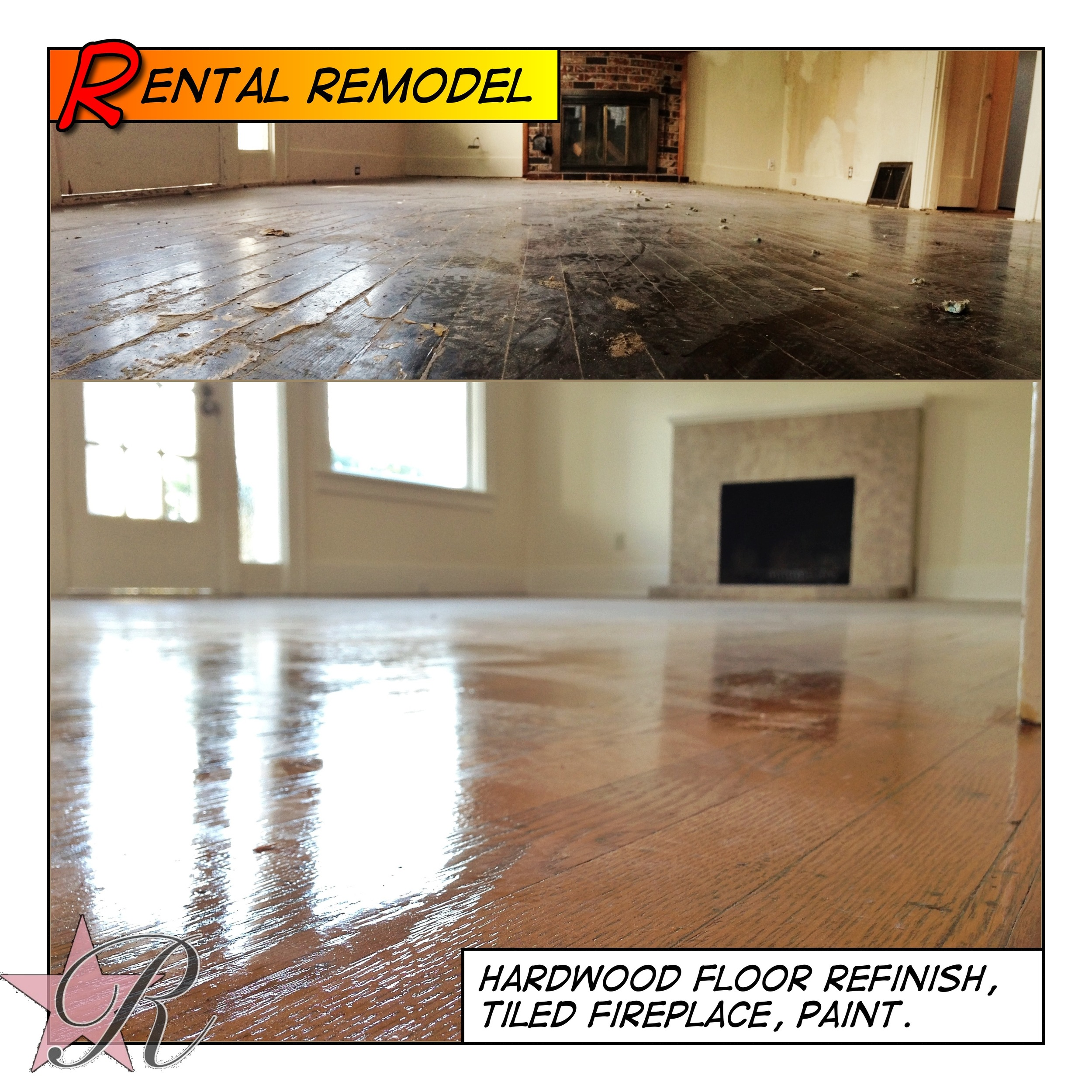 Rockstar Remodel removed the carpet and refinished the existing hardwood flooring.