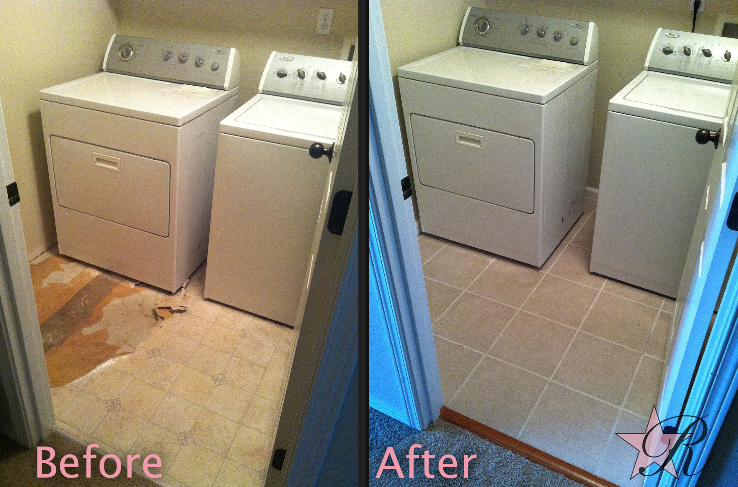 Rockstar Remodel installed a tile floor in this laundry room.