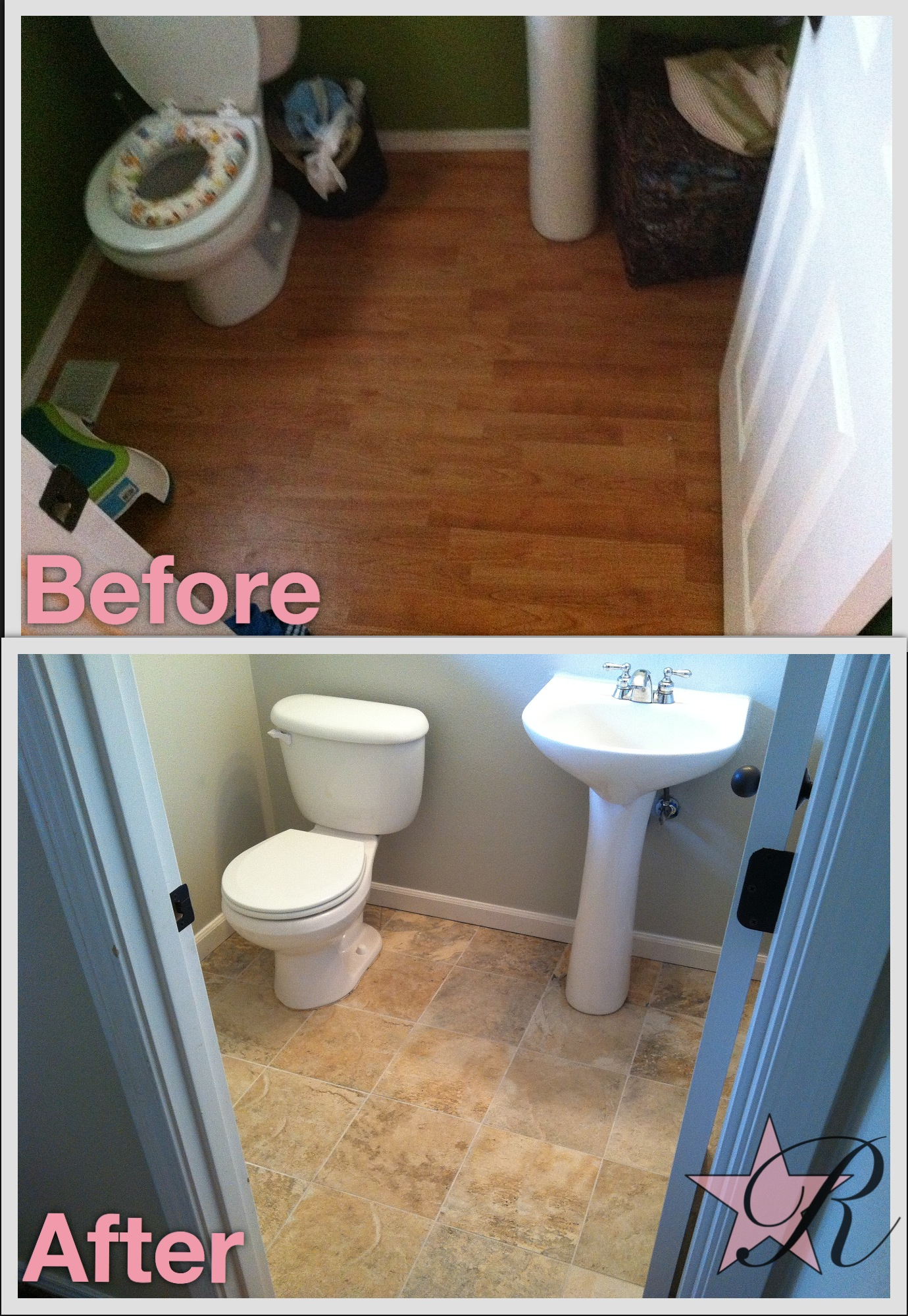 Rockstar Remodel installed a tile floor in this bathroom.