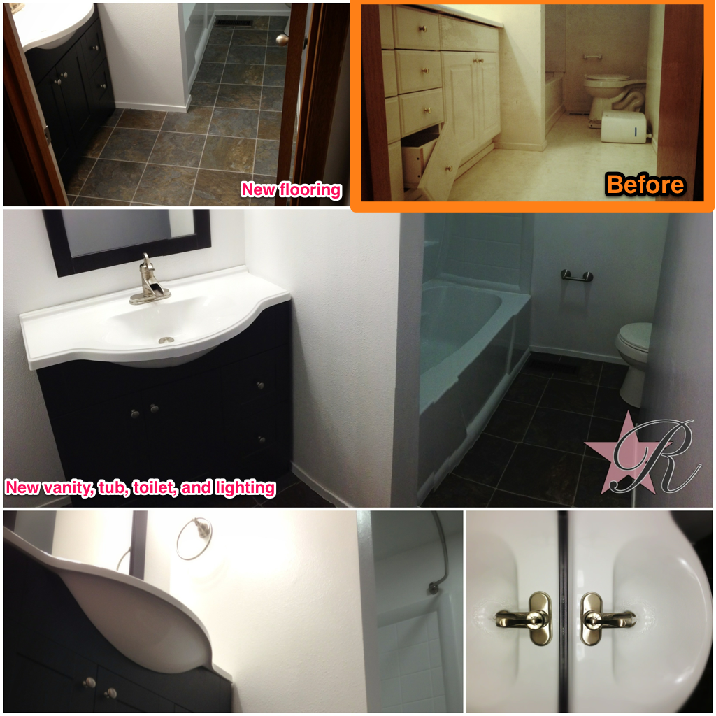 Rockstar Remodel demo'd the existing bathroom and installed a new vanity. tub, toilet, lighting and tiled floor.
