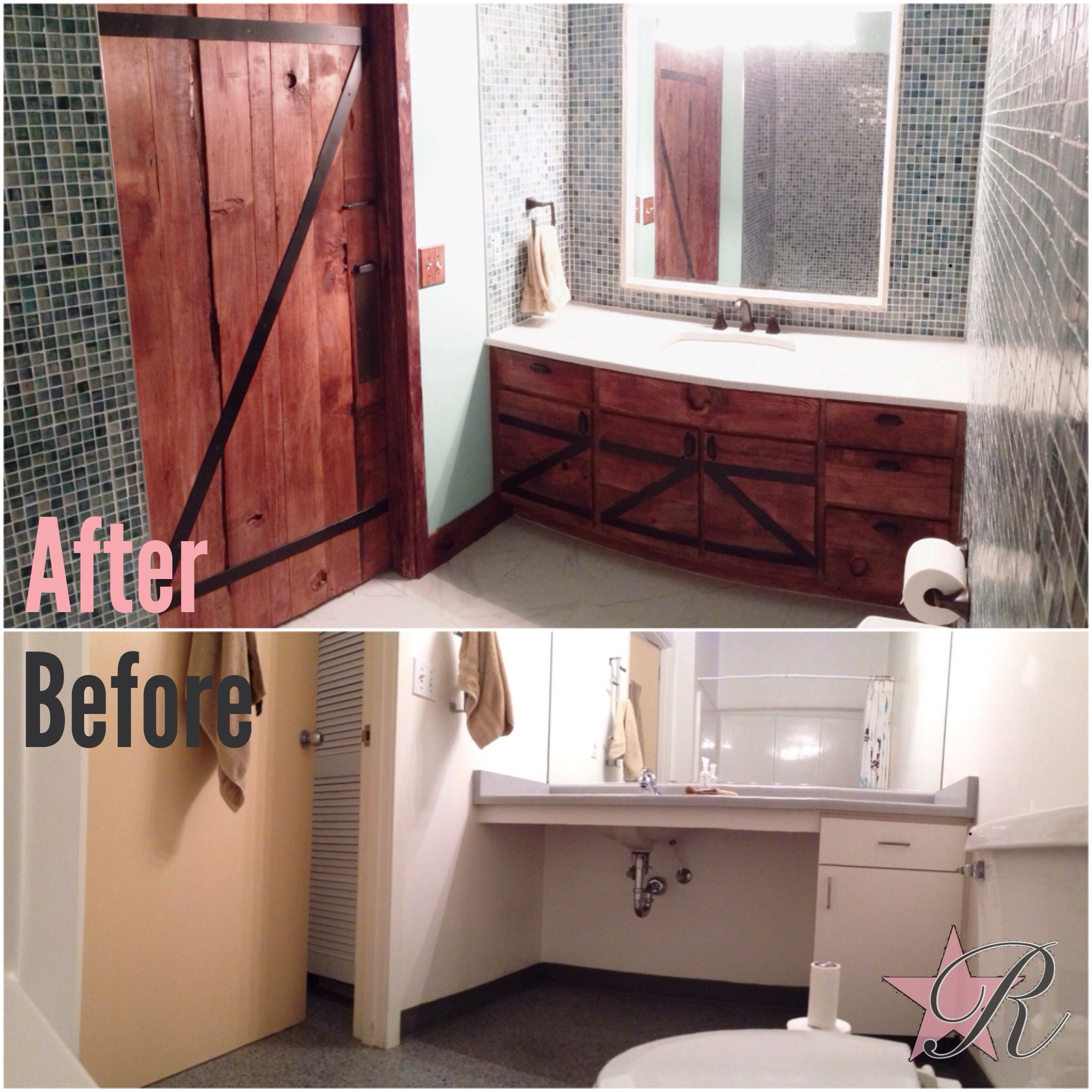 Rockstar Remodel demo'd the old bathroom and installed a glass mosaic shower that wrapped around the bathroom. The door and vanity were custom-made per client's inspirations.