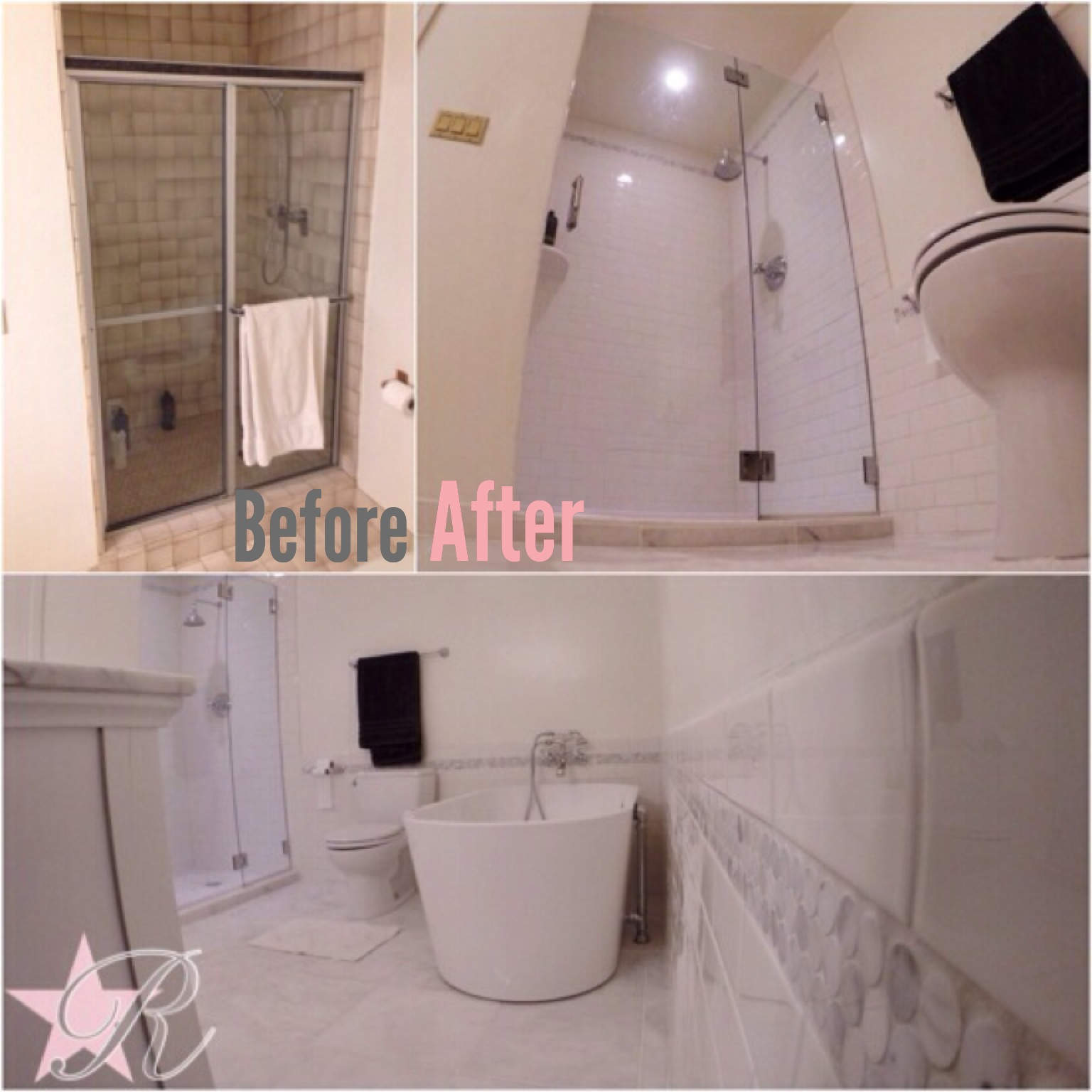 Rockstar Remodel demo'd the existing bathroom and installed a new marble shower, floor and wainscoting. Please check out  videos  for more information on this bathroom.