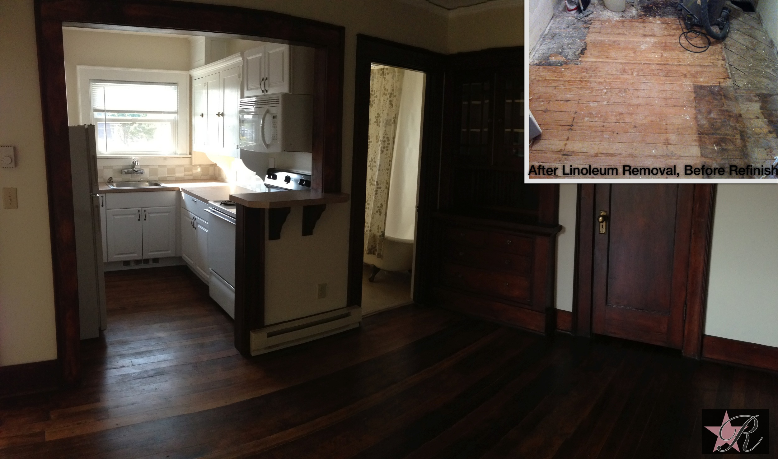 In addition to refinishing the wood trim and floor, Rockstar Remodel painted this apartment, installed new kitchen cabinets, backsplash and bar.