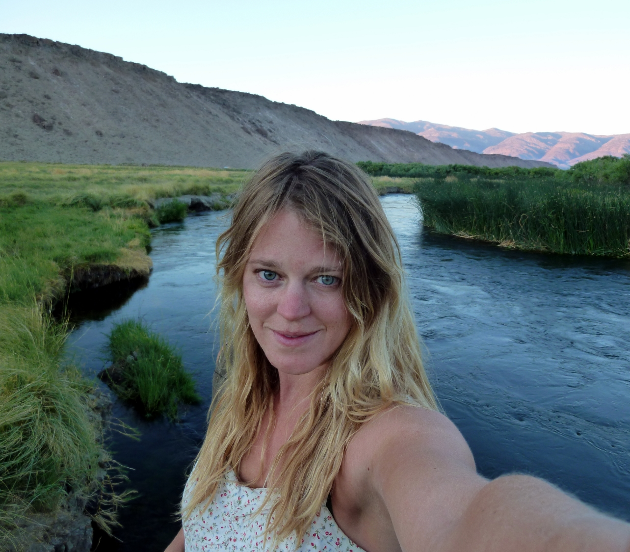 Abigail Sholl, founder of Av Elva Sol. In my favorite place, Owens River, Eastern Sierra, California.