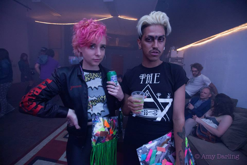 Fenex Lopez and I rocking our GLAMCHOP bags, Photo by Amy Darling