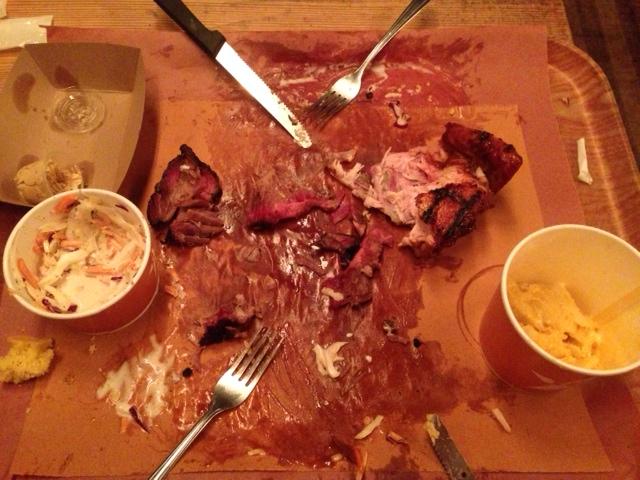 DEMOLISHED: BBQ brisket, chicken, mac, coleslaw and cornbread...gone!