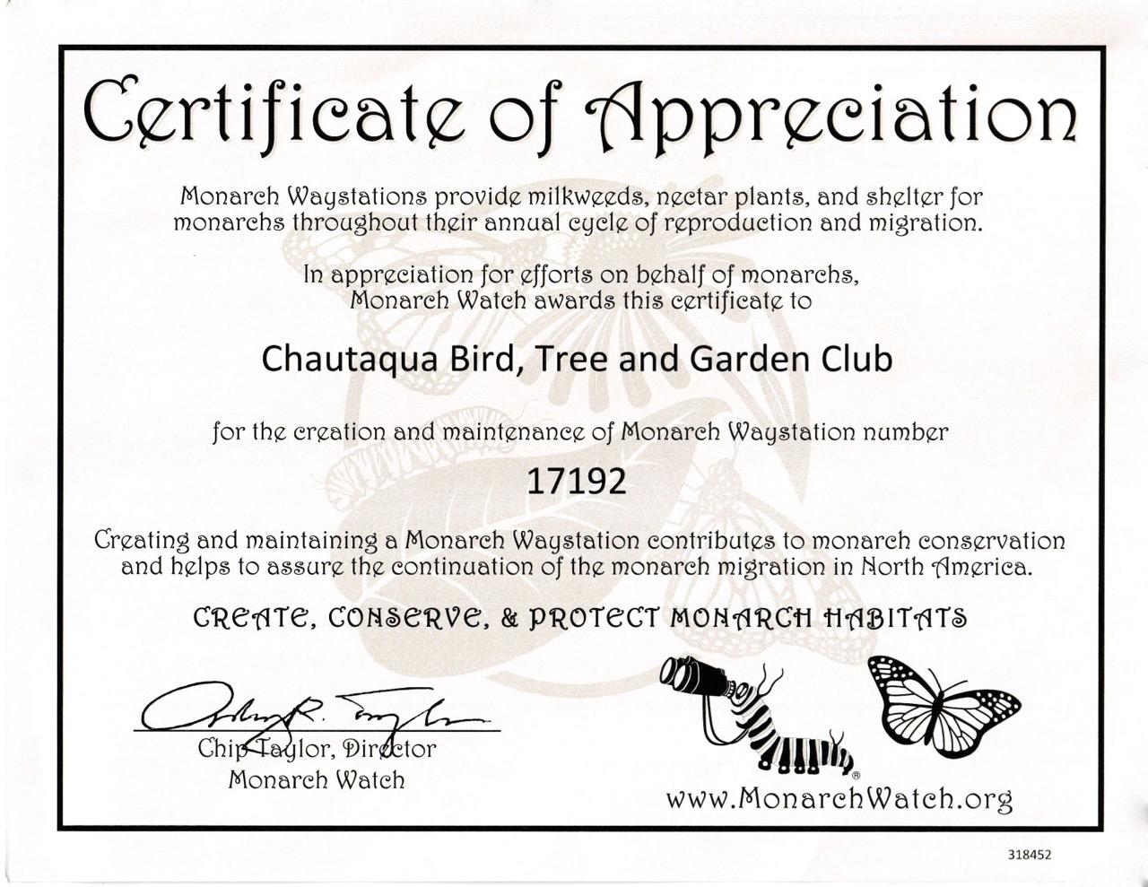 Certified gardens receive a 'certificate of appreciation' from Monarch Watch