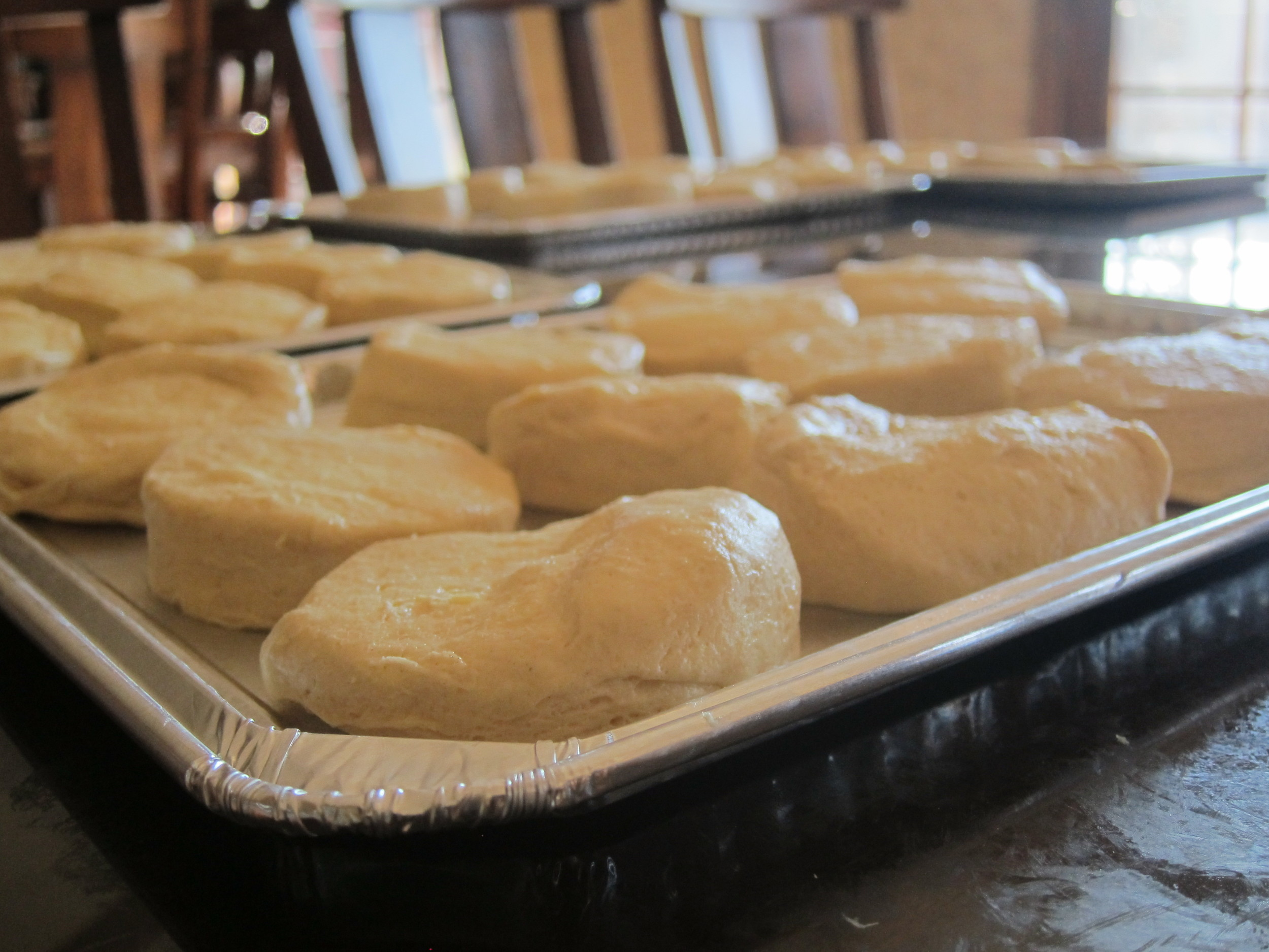 Shiny dinner rolls prepare by the students