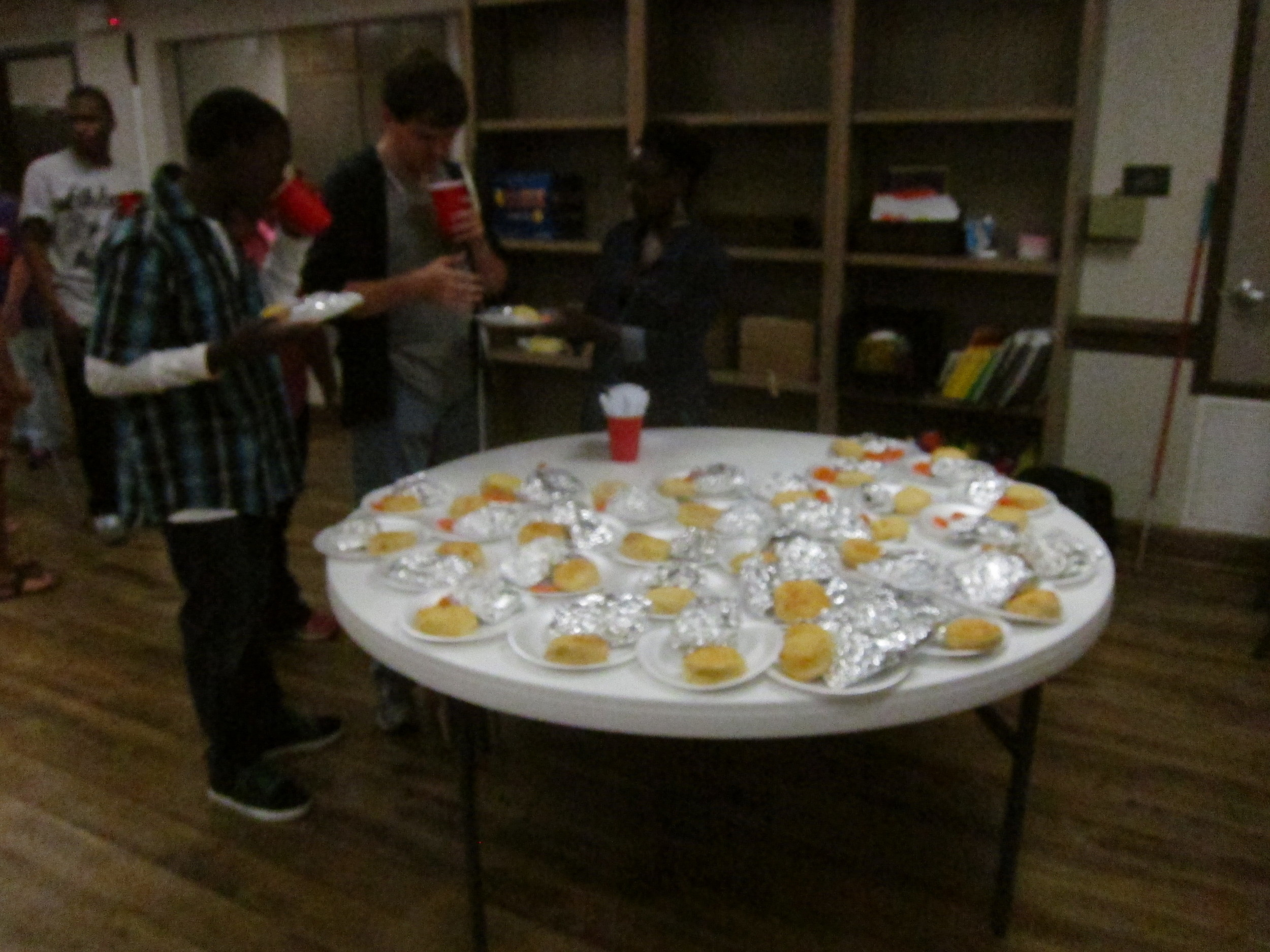 Students line up to enjoy dinner