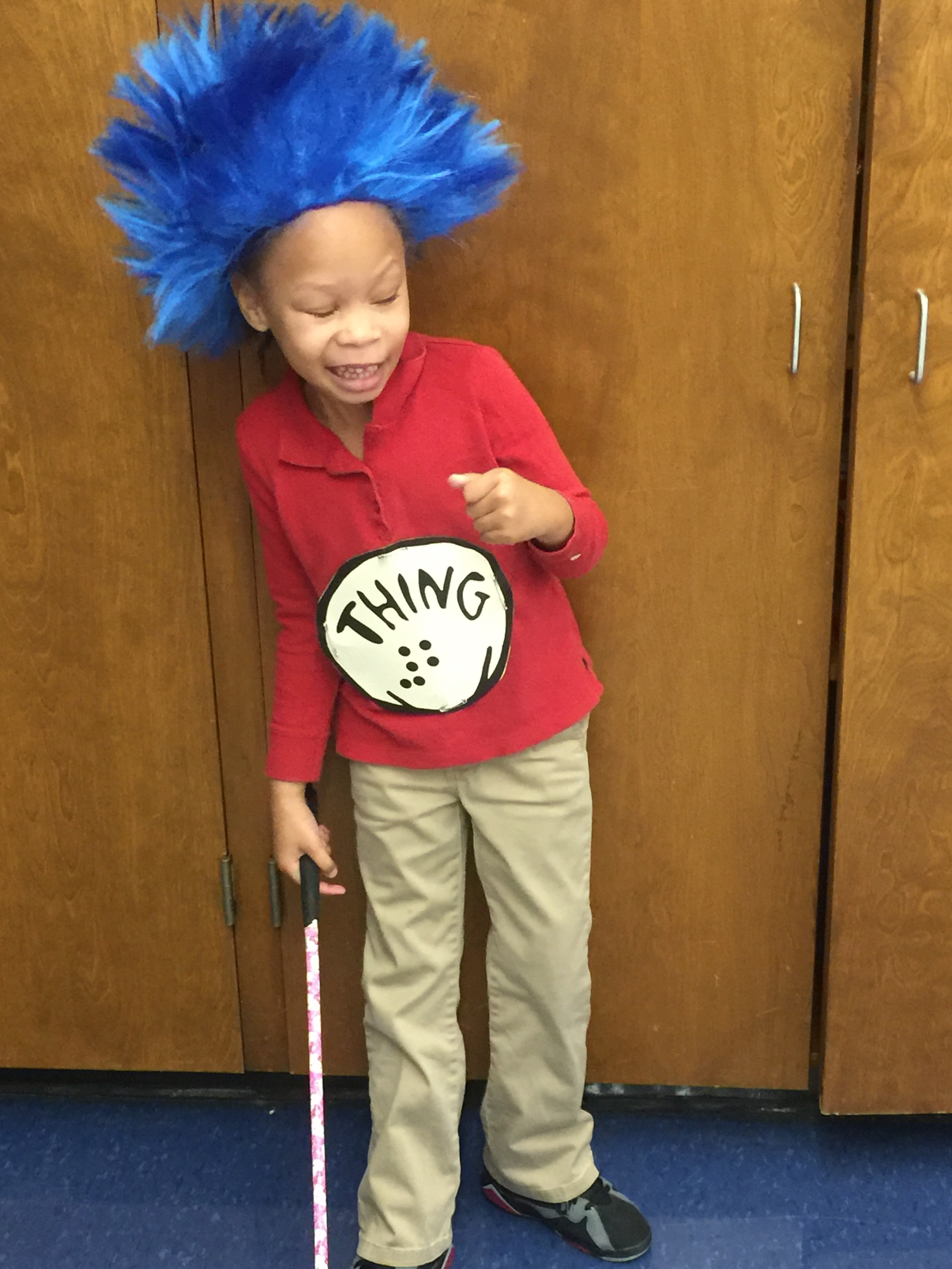 Passion dressed as Thing 2 for Read Across America day.