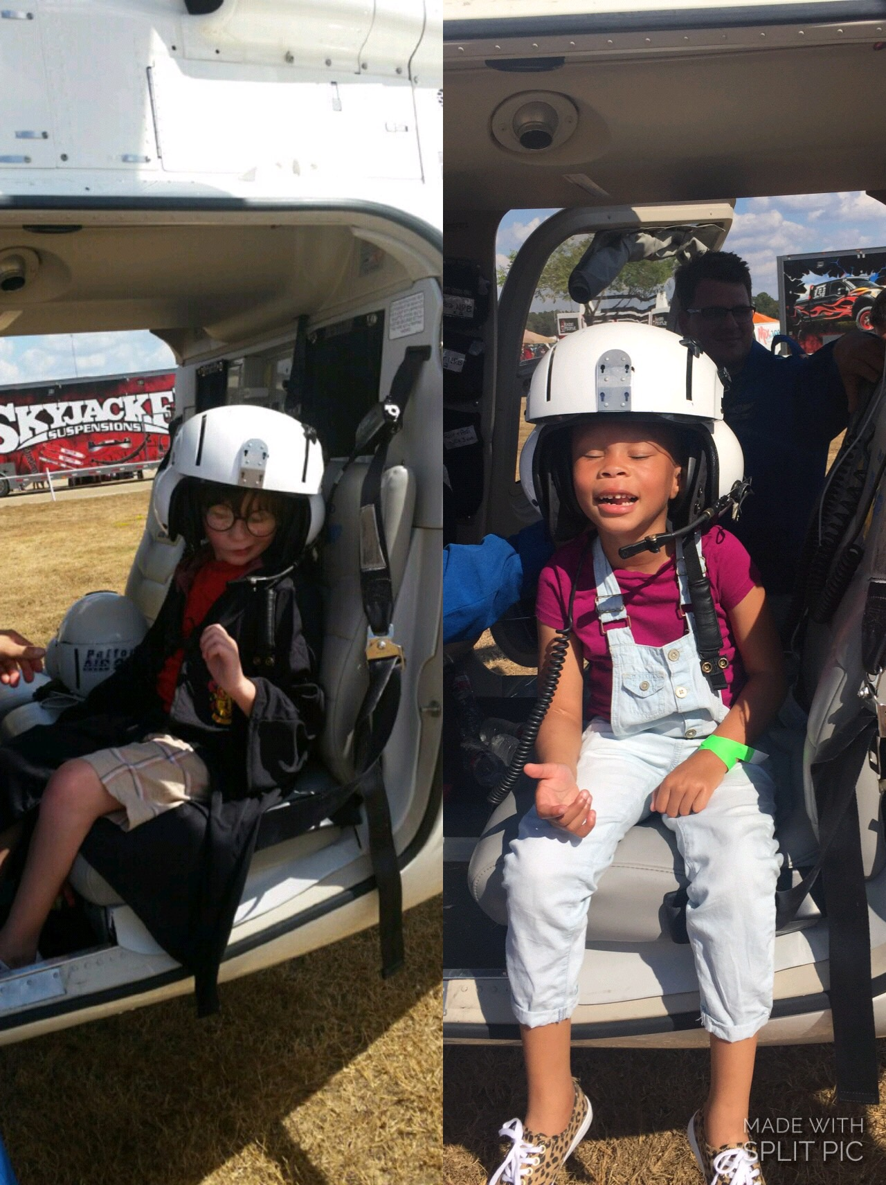 A split picture of Jordan and Passion sitting in a helicopter. Both are wearing the helmet, complete with headset.