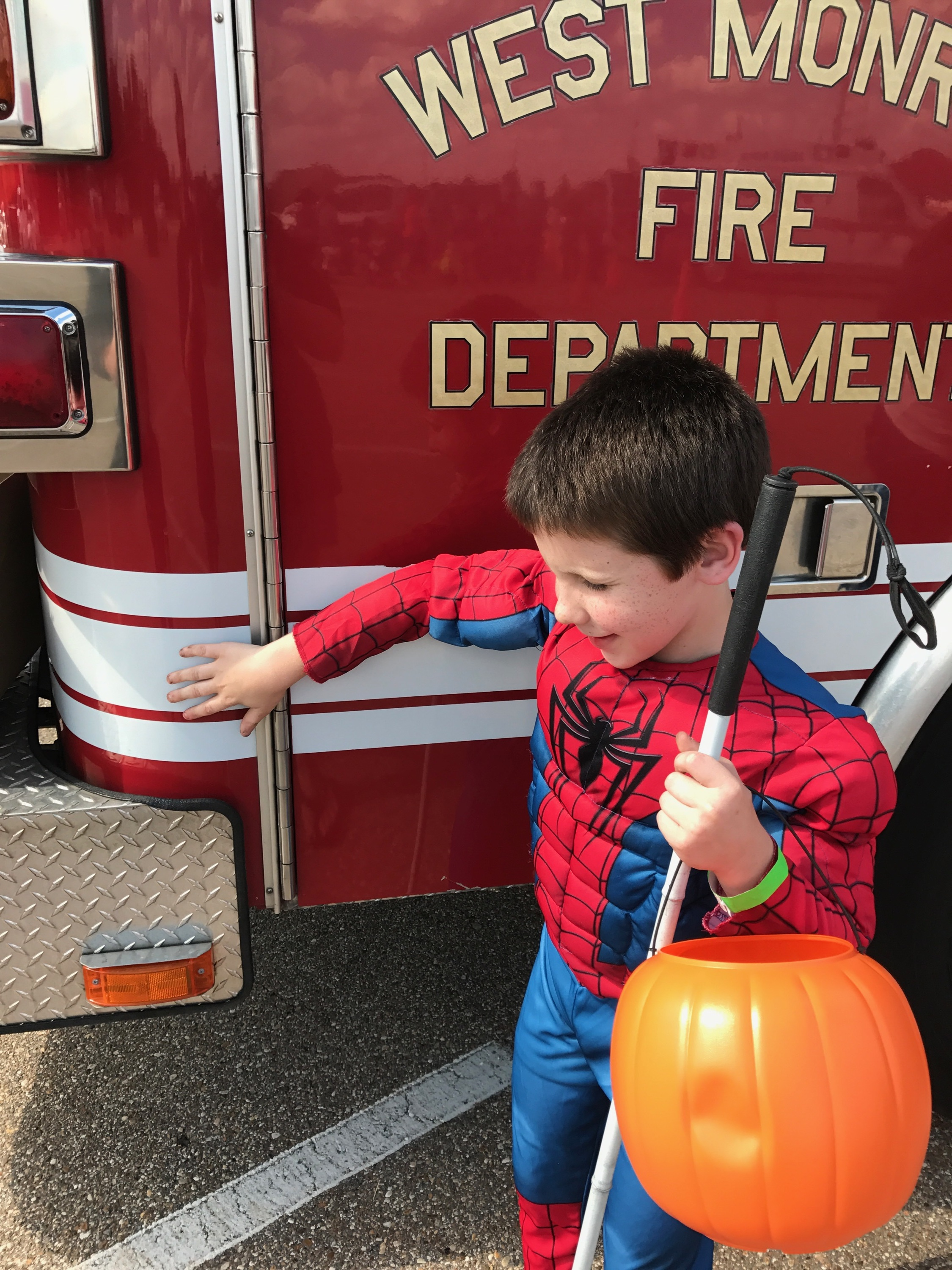 Bryson explores the fire truck!