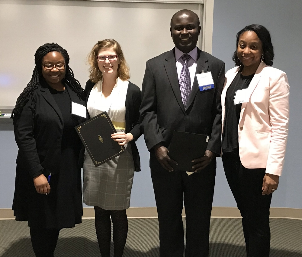 Doctoral award winners: - Two students in research-focused doctoral programs won awards for their research: Abby Mutic from Emory University and Robert Sarfo from Augusta University. Pictured here with co-chairs LaDonia Patterson and Gaea Daniel.
