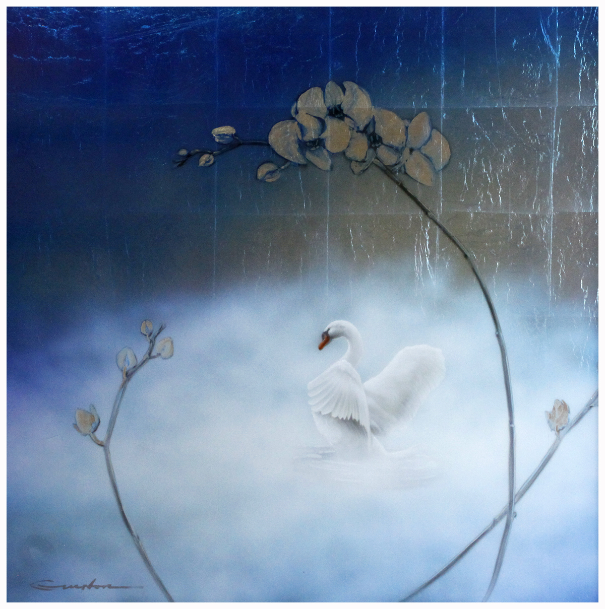 Swan with Orchid