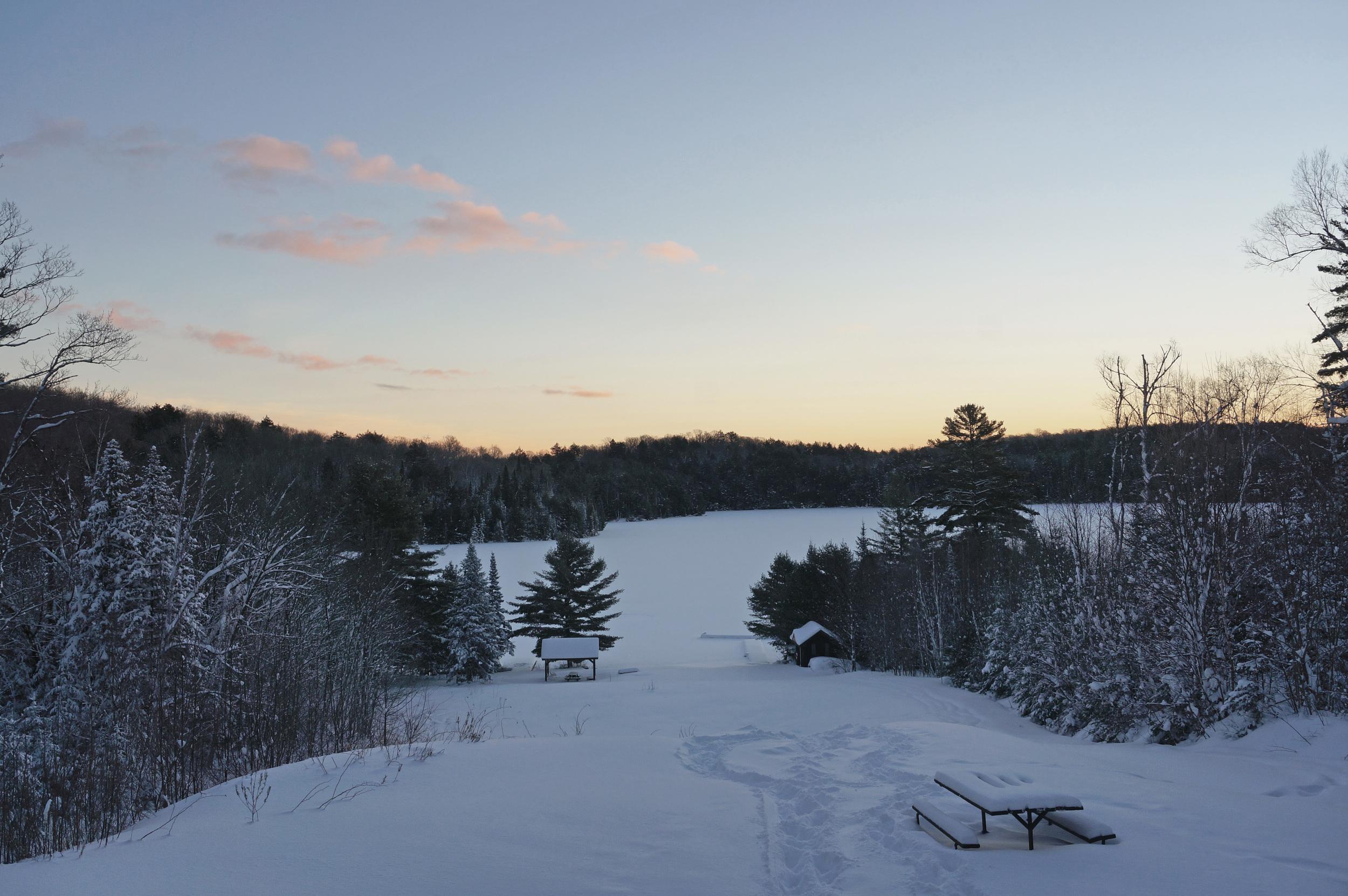 Winter sunrise at the hunt camp