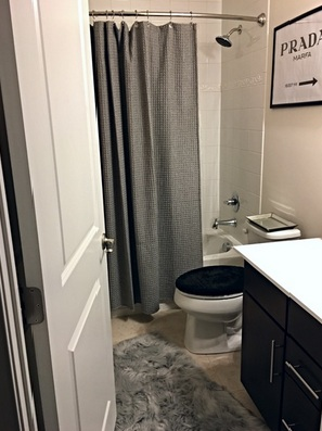 Shower Curtain, Bed Bath and Beyond, $49.99  Faux Fur Rug, Bed Bath and Beyond, $22.99 reg $29.99  Toilet Seat Cover, Walmart, $4.97  Prada Marfa Artwork, Designed by Richie Madison Interiors  Mirrored tray, Home Goods, $14.99