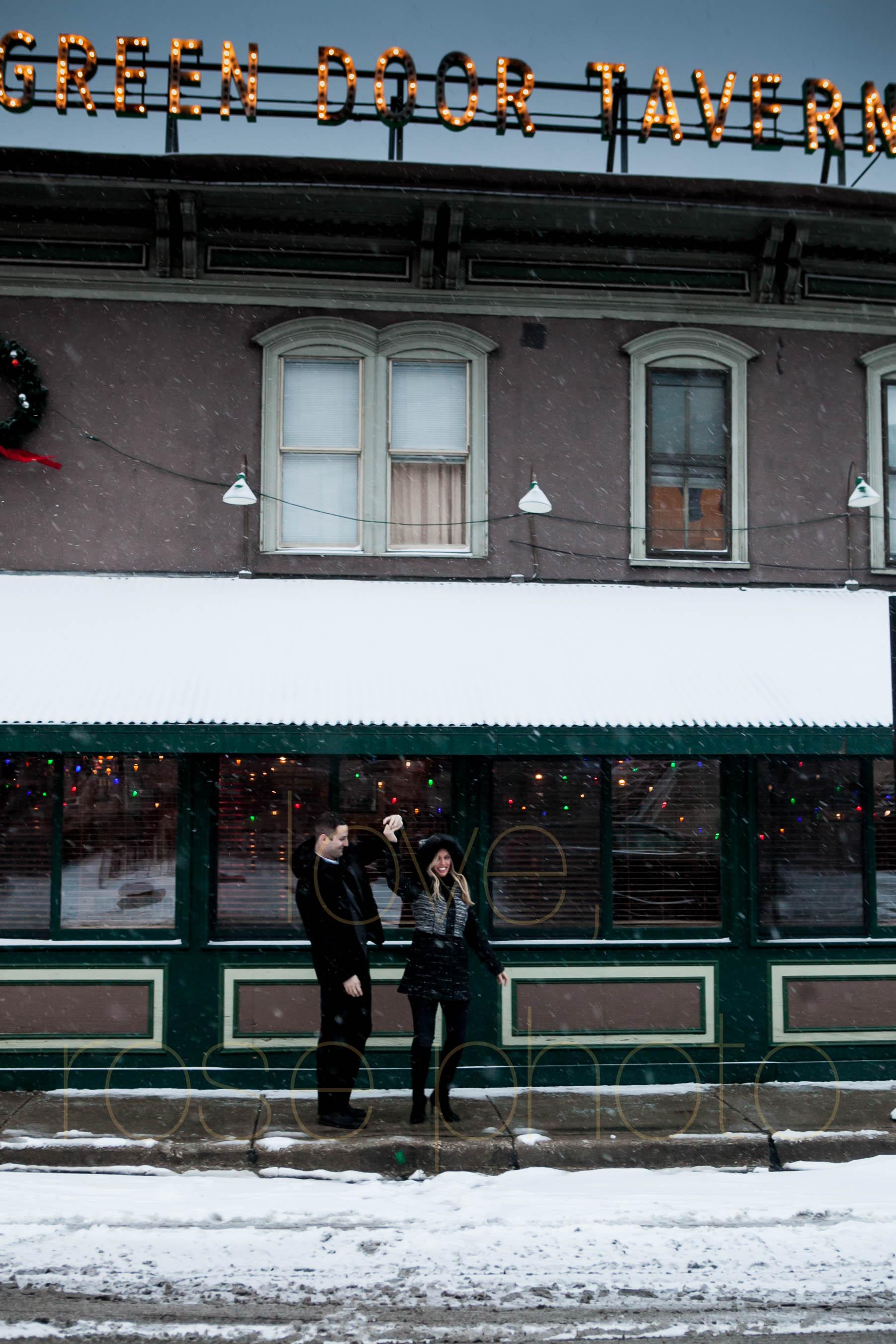 Meredith + Ross NYE 2016 Green Door Tavern River  North Erie Cafe Rose Photo Custom Enagement Shoot Chicago Wedding Photographer -16.jpg
